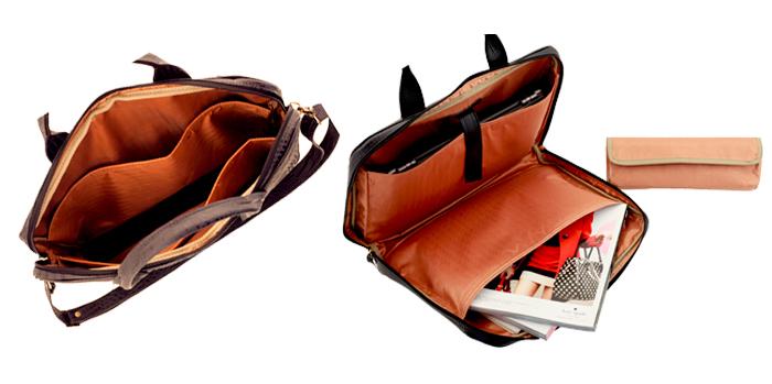 Interior das pastas de notebook em couro ARZON com bolsos e divisórias