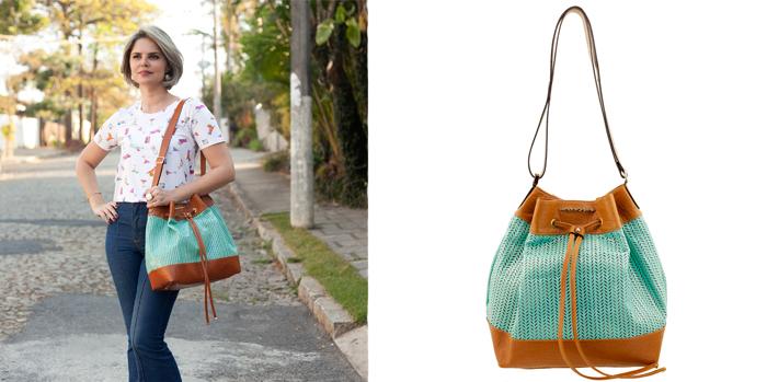 Bucket bag ou bolsa saco em couro ARZON