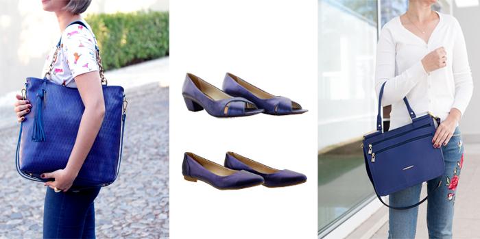 bolsas da cor azul em couro Arzon