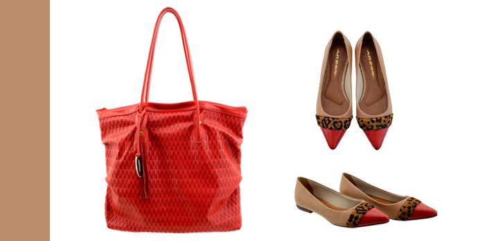 bolsa em couro vermelho ARZON