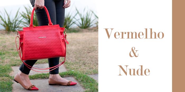 bolsa vermelho em couro e sapatilha ARZON