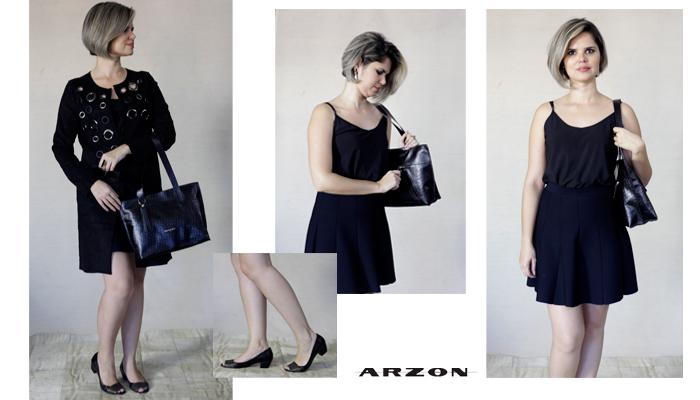 bolsa feminina preto em couro Arzon