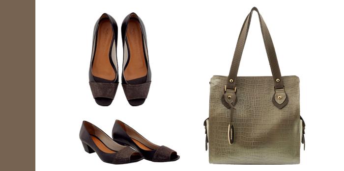 Bolsa feminina em couro combine cinza com preto Arzon
