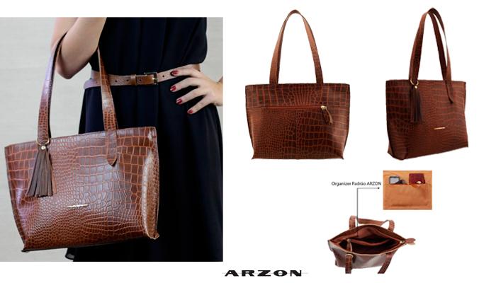 bolsa feminina em couro Arzon leve e bem dividida