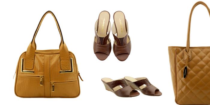 Bolsa feminina em couro Arzon combine caramelo com marrom
