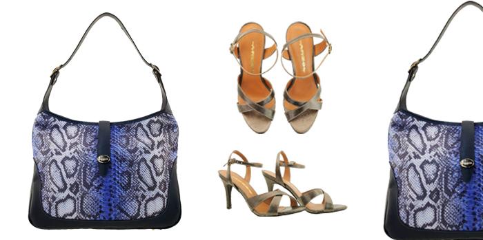Bolsa feminina em couro Arzon combine snake print azul com prata