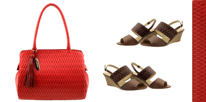 Bolsa em couro Arzon combine vermelho com marrom