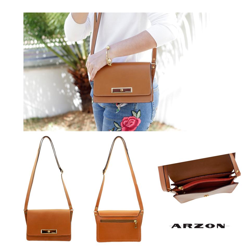 bolsa pequena em couro caramelo Arzon