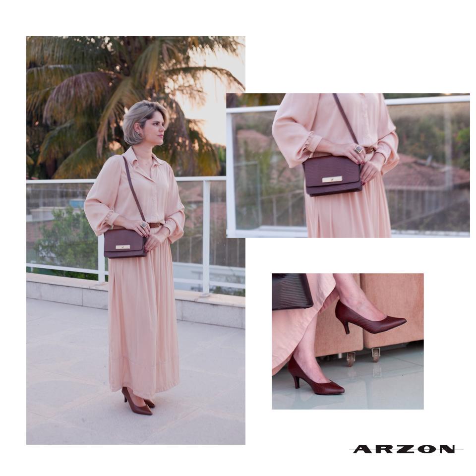 bolsa pequena em couro marrom Arzon