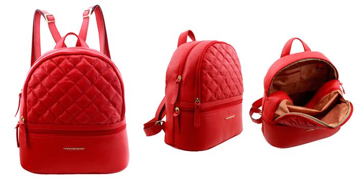 mochilas femininas em couro vermelho Arzon