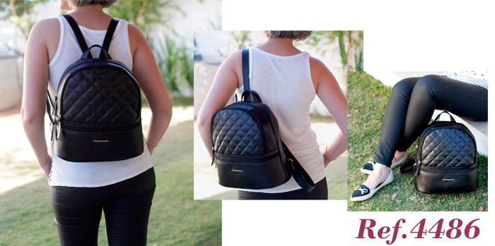 mochilas femininas em couro preto Arzon