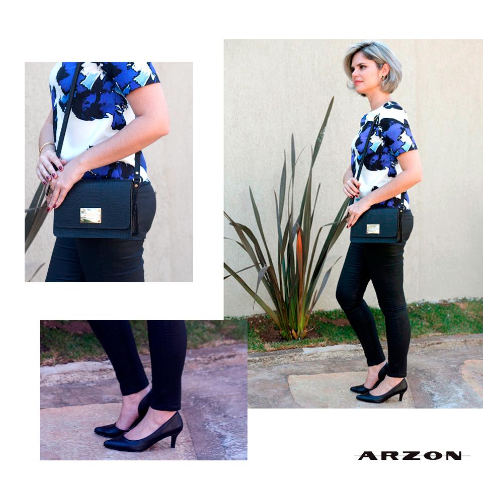 bolsa pequena em couro preto Arzon