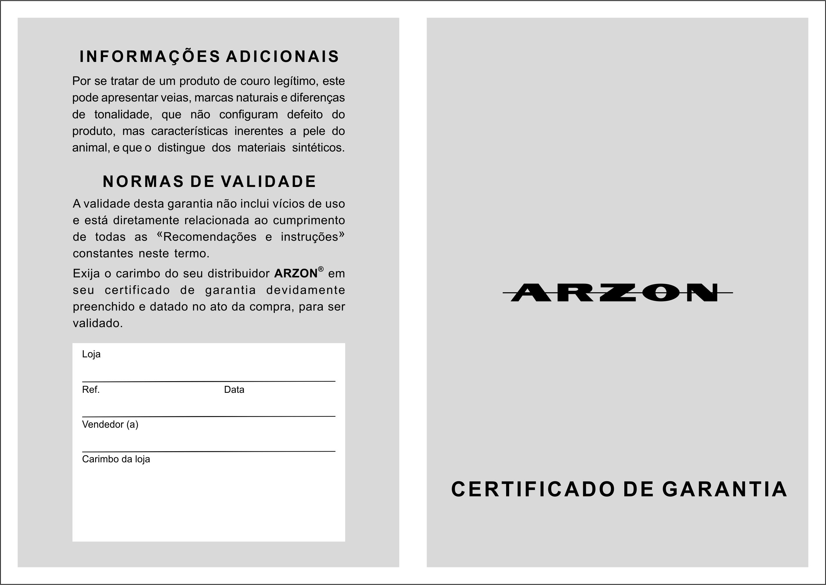 Certificado de garantia da bolsa de couro Arzon