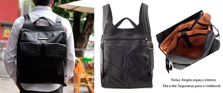 mochila masculina em couro legítimo férias