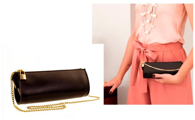 As clutch preta com corrente dourada é o tipo de bolsa que combina com tudo!