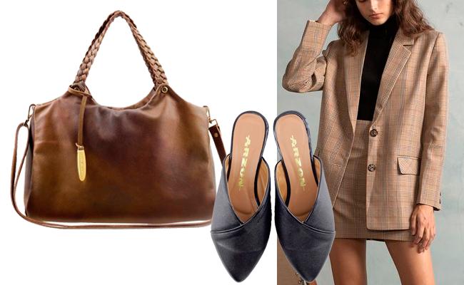 Combine roupas de corte reto estilo alfaiate com acessórios femininos e leves