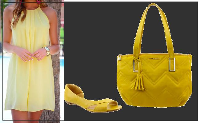Bolsa e Peep Toe de Couro na cor Amarelo para o Verão 2020