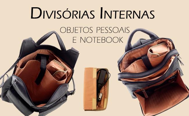 mochila ideal para viagem com ampla abertura e bolsos internos