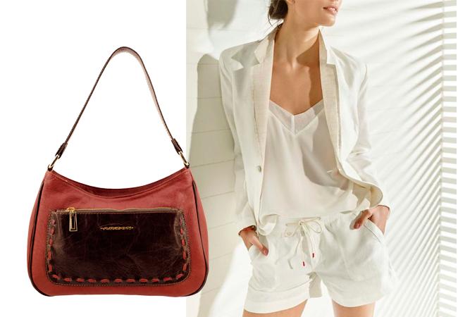 """Bolsa Feminina de couro com detalhe de costura aparente """"feito à mão"""""""