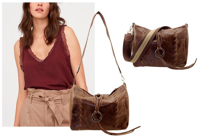 Bolsa Feminina Tiracolo de Couro com handmade de costura aparente