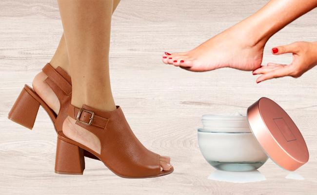 Laceando calçado de couro com hidratante
