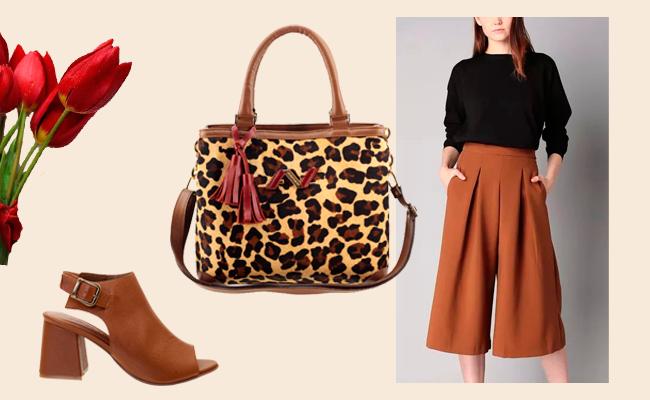 Presente Dia das Mães para a Mãe Moderna - Bolsa Animal Print e Sandal Boot Couro Legítimo ARZON