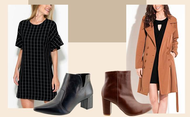 Botinhas de cano curto ARZON perfeitas para usar com vestidos ou saias
