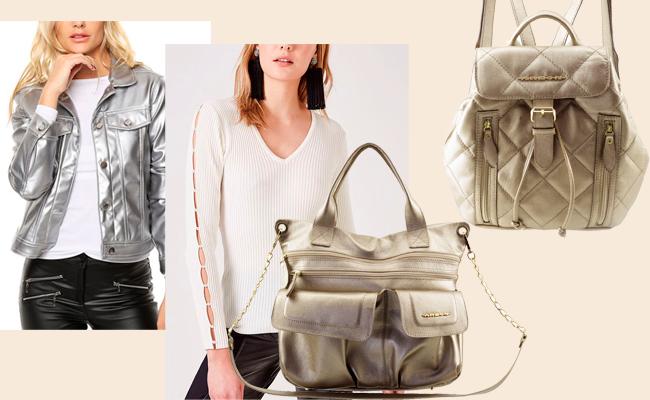 Bolsa e mochila de couro metalizado prata