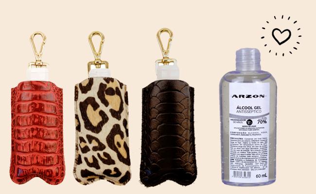 Porta álcool gel em várias cores e texturas de Couro Legítimo ARZON