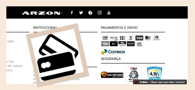 As Formas de Pagamento do Site ARZON são seguras e práticas. Escolha a melhor pra você!