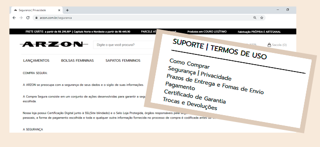 No site ARZON você faz suas compras online com informações claras e muita segurança.