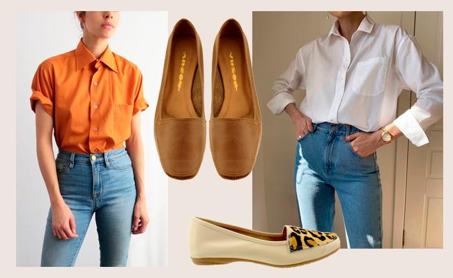 Mocassim feminino com calça jeans